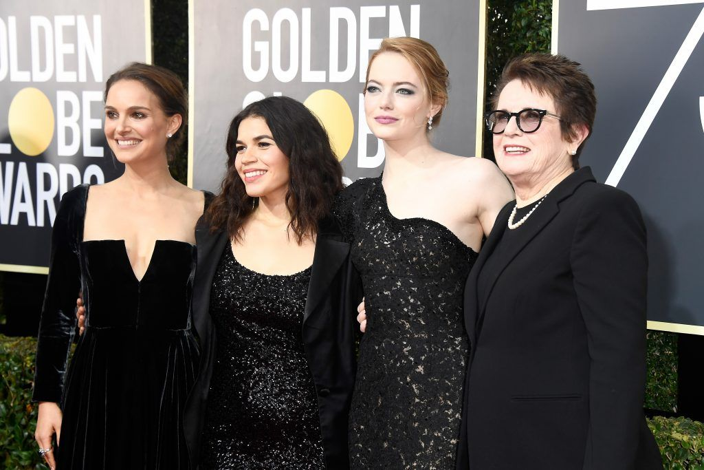 BEVERLY HILLS, CA - JANUARY 07:  (L-R) Actors Natalie Portman, America Ferrera, and Emma Stone, and former tennis player Billie Jean King attend The 75th Annual Golden Globe Awards at The Beverly Hilton Hotel on January 7, 2018 in Beverly Hills, California.  (Photo by Frazer Harrison/Getty Images)