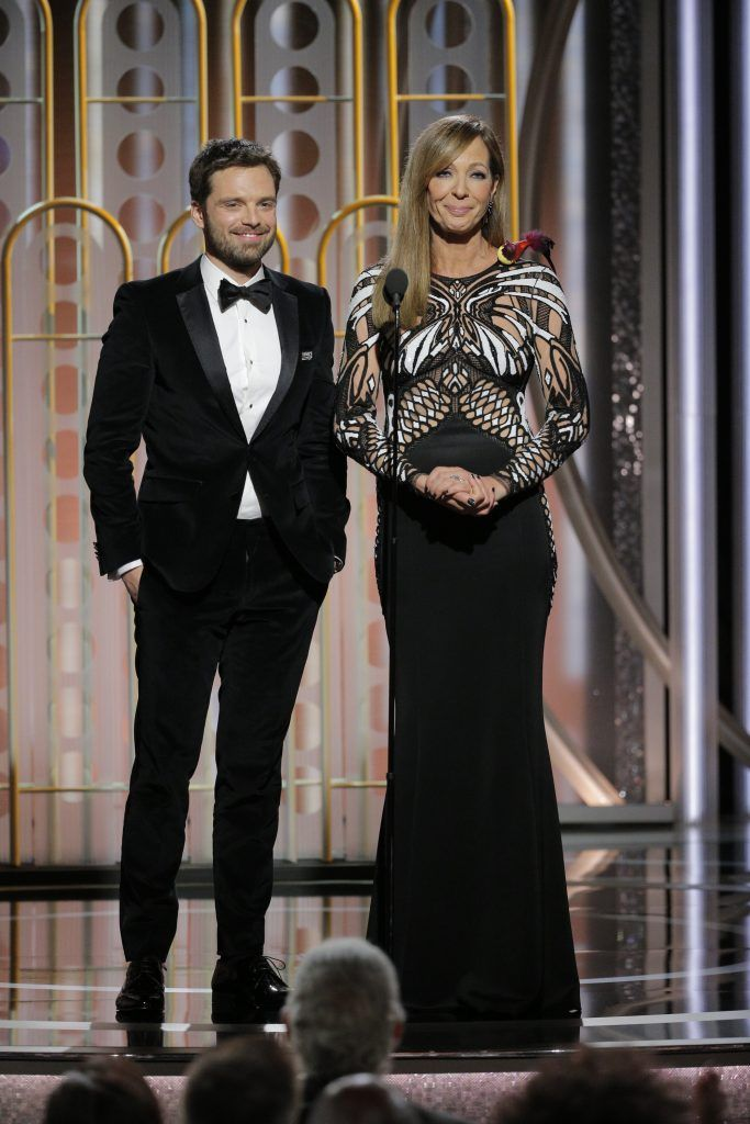 BEVERLY HILLS, CA - JANUARY 07:  In this handout photo provided by NBCUniversal,  Presenters Sebastian Stan and  Allison Janney speak onstage during the 75th Annual Golden Globe Awards at The Beverly Hilton Hotel on January 7, 2018 in Beverly Hills, California.  (Photo by Paul Drinkwater/NBCUniversal via Getty Images)