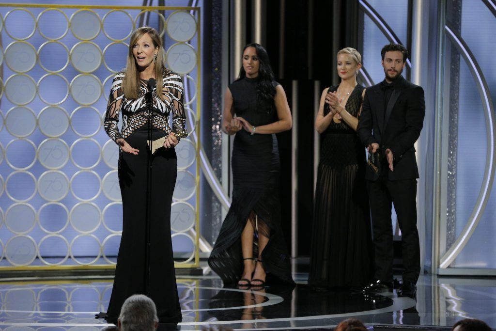 """BEVERLY HILLS, CA - JANUARY 07:  In this handout photo provided by NBCUniversal,  Allison Janney accepts the award Best Performance by an Actress in a Supporting Role in a Motion Picture for """"I, Tonya"""" during the 75th Annual Golden Globe Awards at The Beverly Hilton Hotel on January 7, 2018 in Beverly Hills, California.  (Photo by Paul Drinkwater/NBCUniversal via Getty Images)"""