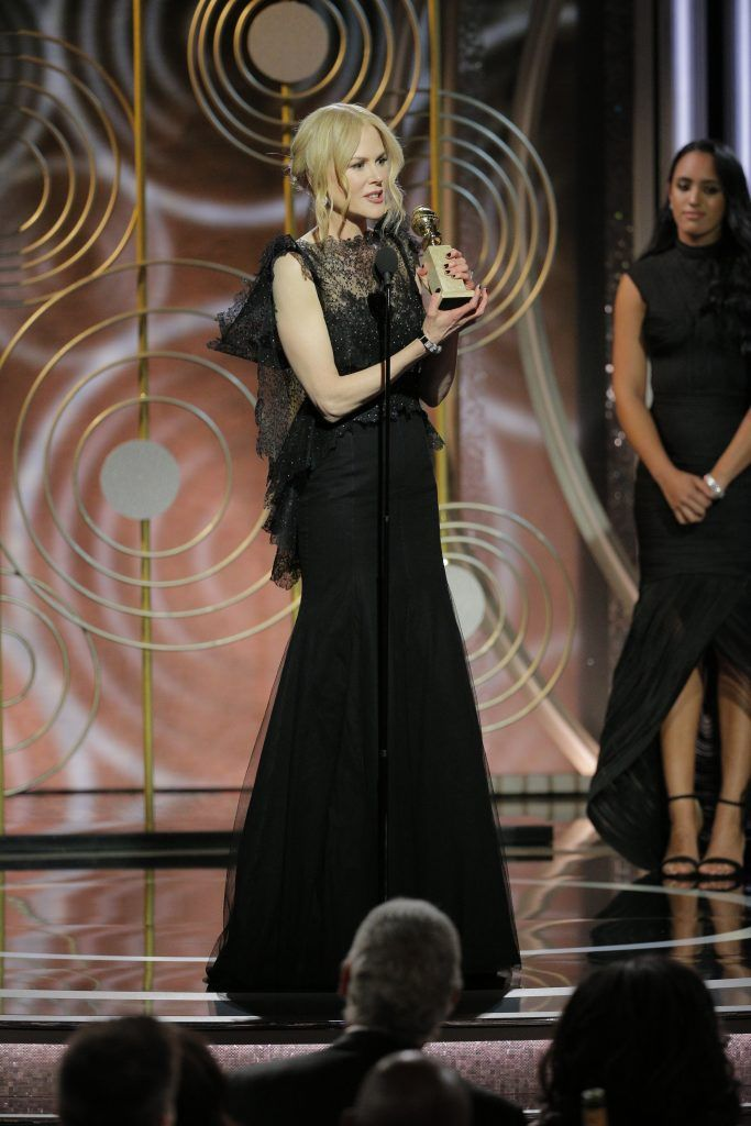 """BEVERLY HILLS, CA - JANUARY 07:  In this handout photo provided by NBCUniversal,  Nicole Kidman accepts the award for Best Performance by an Actress in a Limited Series or Motion Picture Made for Television for """"Big Little Lies"""" speaks onstage during the 75th Annual Golden Globe Awards at The Beverly Hilton Hotel on January 7, 2018 in Beverly Hills, California.  (Photo by Paul Drinkwater/NBCUniversal via Getty Images)"""