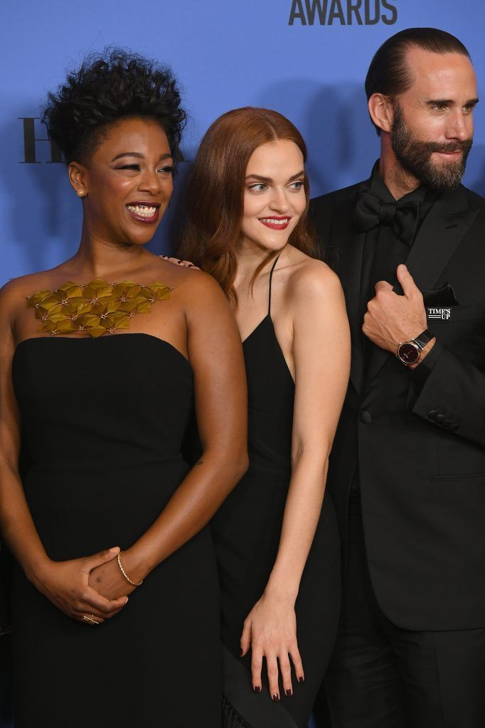 BEVERLY HILLS, CA - JANUARY 07:  (L-R) Actors Samira Wiley, Madeline Brewer, Joseph Fiennes of 'The Handmaid's Tale' pose with their awards for Best Television Series Drama in the press room during The 75th Annual Golden Globe Awards at The Beverly Hilton Hotel on January 7, 2018 in Beverly Hills, California.  (Photo by Kevin Winter/Getty Images)