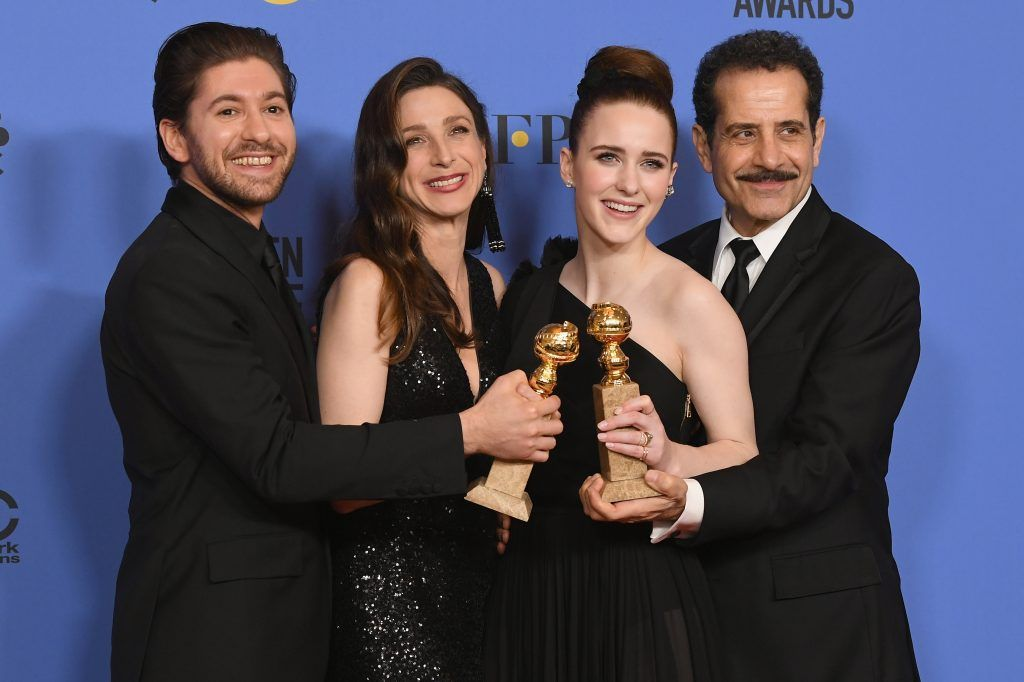 BEVERLY HILLS, CA - JANUARY 07:  Michael Zegen, Marin Hinkle, Rachel Brosnahan and Tony Shalhoub pose with the award for Best Television Series Musical or Comedy for 'The Marvelous Mrs. Maisel' in the press room during The 75th Annual Golden Globe Awards at The Beverly Hilton Hotel on January 7, 2018 in Beverly Hills, California.  (Photo by Kevin Winter/Getty Images)