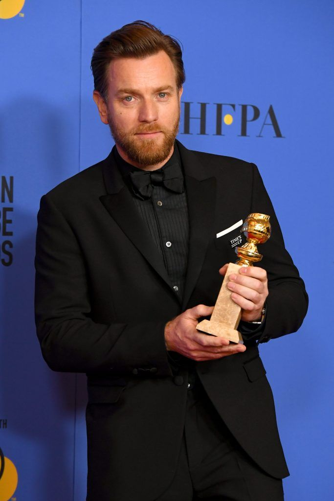 BEVERLY HILLS, CA - JANUARY 07:  Ewan McGregor poses with his award for Best Performance by an Actor in a Limited Series or a Motion Picture Made for Television for 'Fargo' in the press room during The 75th Annual Golden Globe Awards at The Beverly Hilton Hotel on January 7, 2018 in Beverly Hills, California.  (Photo by Kevin Winter/Getty Images)