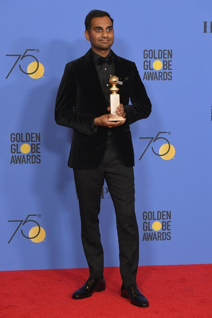 BEVERLY HILLS, CA - JANUARY 07:  Actor Aziz Ansari poses with his award for Best Performance by an Actor in a Television Series Musical or Comedy for 'Master of None' in the press room during The 75th Annual Golden Globe Awards at The Beverly Hilton Hotel on January 7, 2018 in Beverly Hills, California.  (Photo by Kevin Winter/Getty Images)