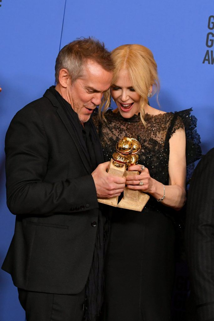 BEVERLY HILLS, CA - JANUARY 07:  Director Jean-Marc Vallee and actor Nicole Kidman pose with the Best Television Limited Series or Motion Picture Made for Television award for 'Big Little Lies' in the press room during The 75th Annual Golden Globe Awards at The Beverly Hilton Hotel on January 7, 2018 in Beverly Hills, California.  (Photo by Kevin Winter/Getty Images)