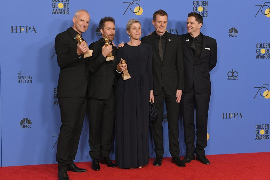 BEVERLY HILLS, CA - JANUARY 07:  (L-R) Martin McDonagh, Sam Rockwell, Frances McDormand, Graham Broadbent and Peter Czernin pose with the award for Best Motion Picture Drama for 'Three Billboards Outside Ebbing, Missouri' in the press room during The 75th Annual Golden Globe Awards at The Beverly Hilton Hotel on January 7, 2018 in Beverly Hills, California.  (Photo by Kevin Winter/Getty Images)
