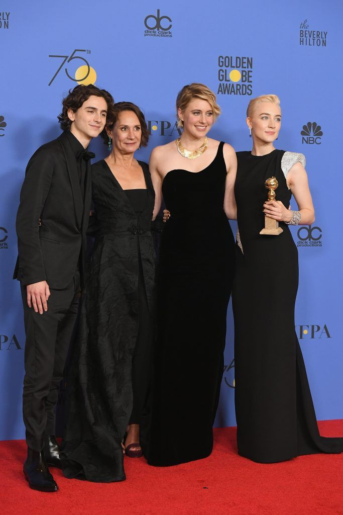 BEVERLY HILLS, CA - JANUARY 07:  (L-R) Timothee Chalamet, Laurie Metcalf, Greta Gerwig and Saoirse Ronan poses with the award for Best Motion Picture Musical or Comedy in 'Lady Bird' in the press room during The 75th Annual Golden Globe Awards at The Beverly Hilton Hotel on January 7, 2018 in Beverly Hills, California.  (Photo by Kevin Winter/Getty Images)