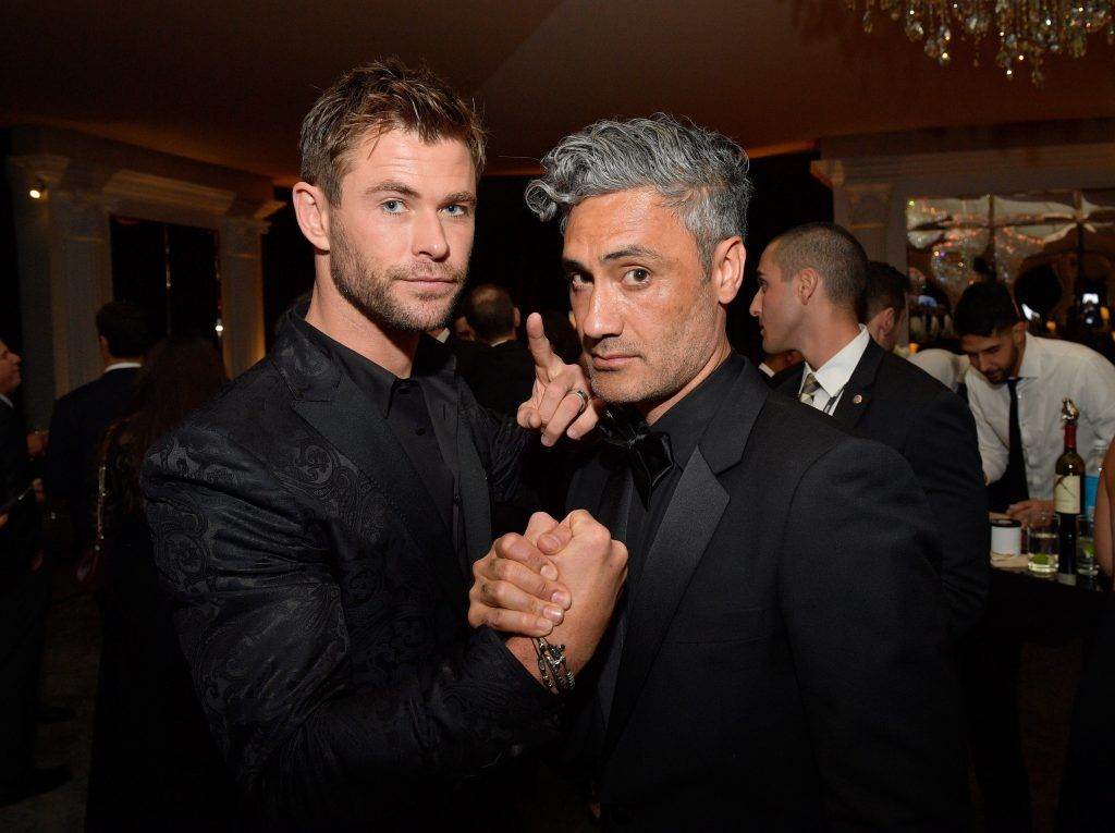 Actor Chris Hemsworth (L) and director Taika Waititi attend the 2018 InStyle and Warner Bros. 75th Annual Golden Globe Awards Post-Party at The Beverly Hilton Hotel on January 7, 2018 in Beverly Hills, California.  (Photo by Matt Winkelmeyer/Getty Images for InStyle)