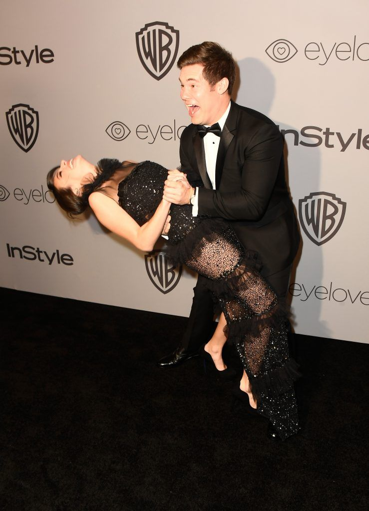 Actors Chloe Bridges and Adam Devine attend 19th Annual Post-Golden Globes Party hosted by Warner Bros. Pictures and InStyle at The Beverly Hilton Hotel on January 7, 2018 in Beverly Hills, California.  (Photo by Frazer Harrison/Getty Images)