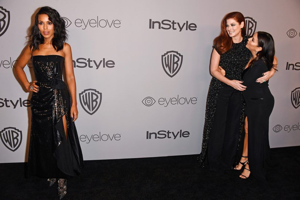 (L-R) Actors Kerry Washington, Debra Messing, and Eva Longoria attend 19th Annual Post-Golden Globes Party hosted by Warner Bros. Pictures and InStyle at The Beverly Hilton Hotel on January 7, 2018 in Beverly Hills, California.  (Photo by Frazer Harrison/Getty Images)