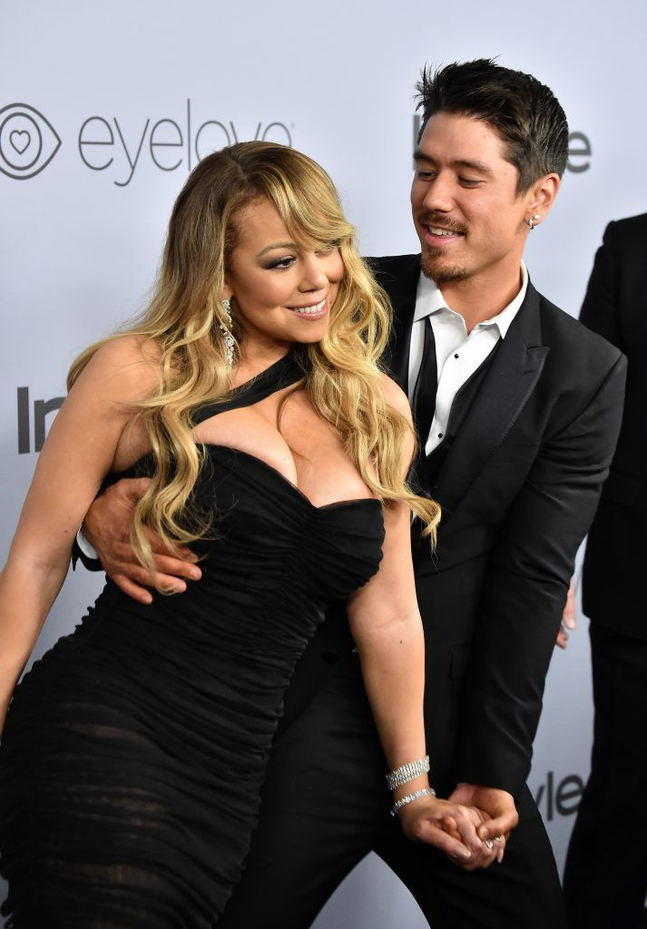 Mariah Carey (L) and Bryan Tanaka attend the 19th Annual Post-Golden Globes Party hosted by Warner Bros. Pictures and InStyle at The Beverly Hilton Hotel on January 7, 2018 in Beverly Hills, California.  (Photo by Frazer Harrison/Getty Images)