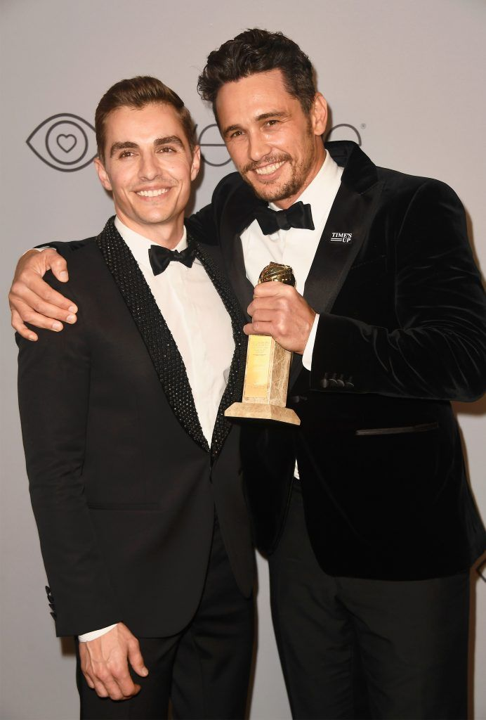 Actor Dave Franco and actor/filmmaker James Franco, winner of the award for Best Performance by an Actor in a Motion Picture (Musical or Comedy) for 'The Disaster Artist,' pose at the 19th Annual Post-Golden Globes Party hosted by Warner Bros. Pictures and InStyle at The Beverly Hilton Hotel on January 7, 2018 in Beverly Hills, California.  (Photo by Frazer Harrison/Getty Images)