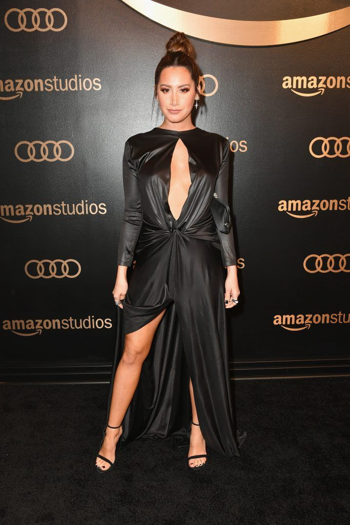 Actor Ashley Tisdale attends Amazon Studios' Golden Globes Celebration at The Beverly Hilton Hotel on January 7, 2018 in Beverly Hills, California.  (Photo by Earl Gibson III/Getty Images)