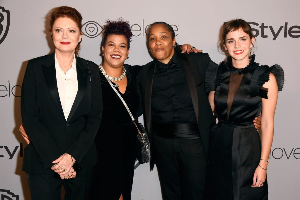 Actor Susan Sarandon, activists Rosa Clemente and Marai Larasi, and actor Emma Watson attend 19th Annual Post-Golden Globes Party hosted by Warner Bros. Pictures and InStyle at The Beverly Hilton Hotel on January 7, 2018 in Beverly Hills, California.  (Photo by Frazer Harrison/Getty Images)