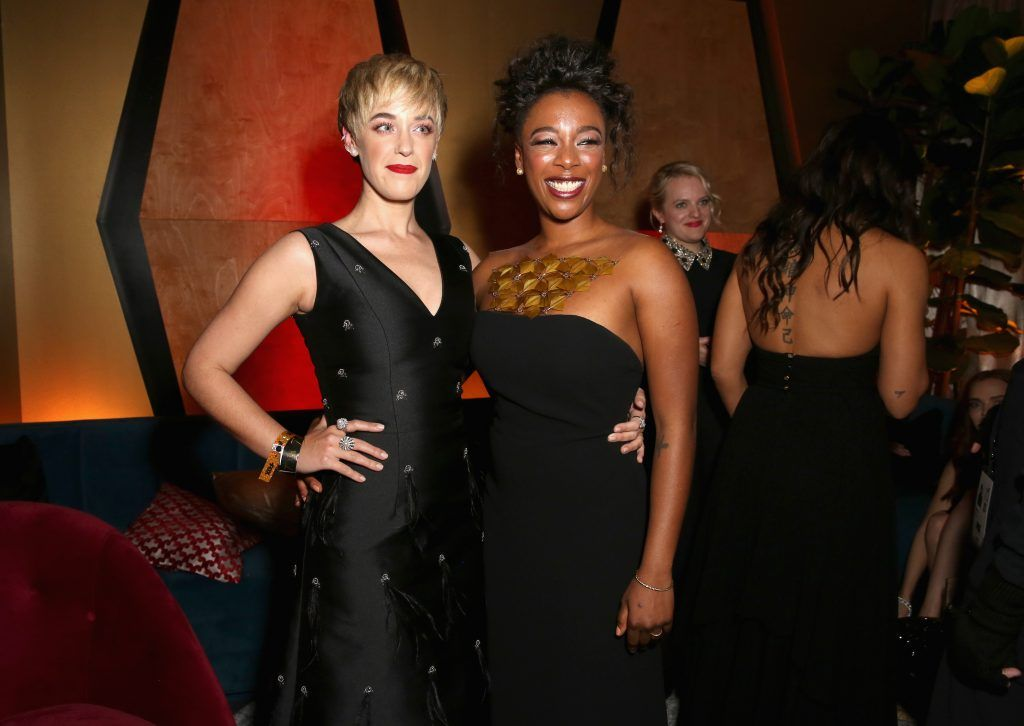 Writer Lauren Morelli (L) and actor Samira Wiley attend Hulu's 2018 Golden Globes After Party at The Beverly Hilton Hotel on January 7, 2018 in Beverly Hills, California.  (Photo by Rachel Murray/Getty Images for Hulu)