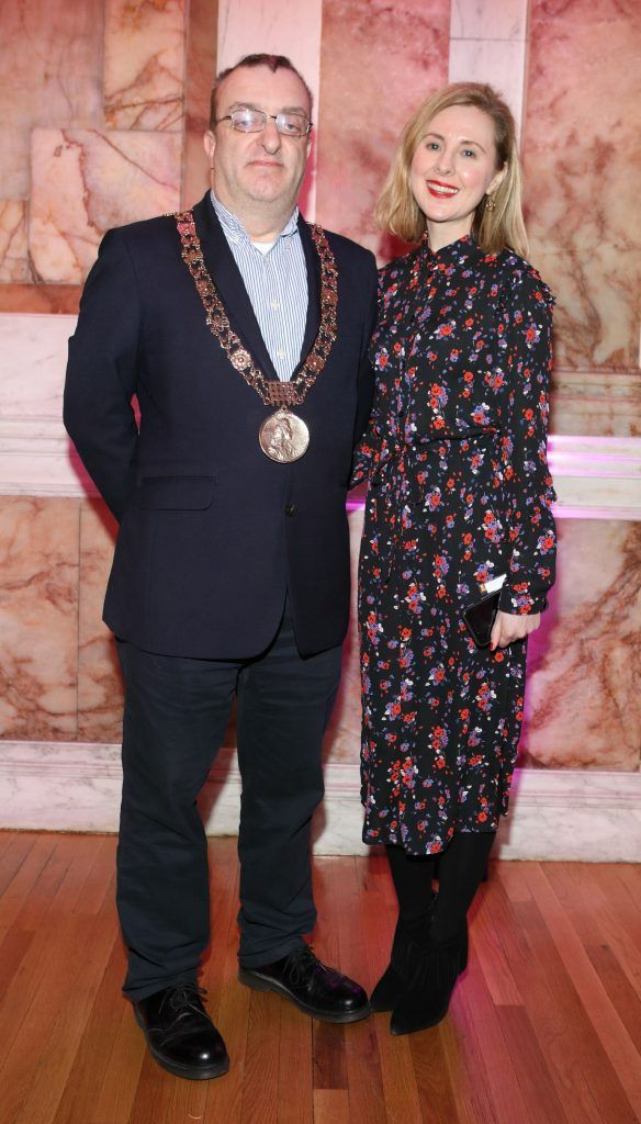 Lord Mayor of Dublin Micheal MacDonncha and Claudine Murray pictured at the launch of TradFest 2018 at the Department of Foreign Affairs, Dublin. Photo: Brian McEvoy Photography
