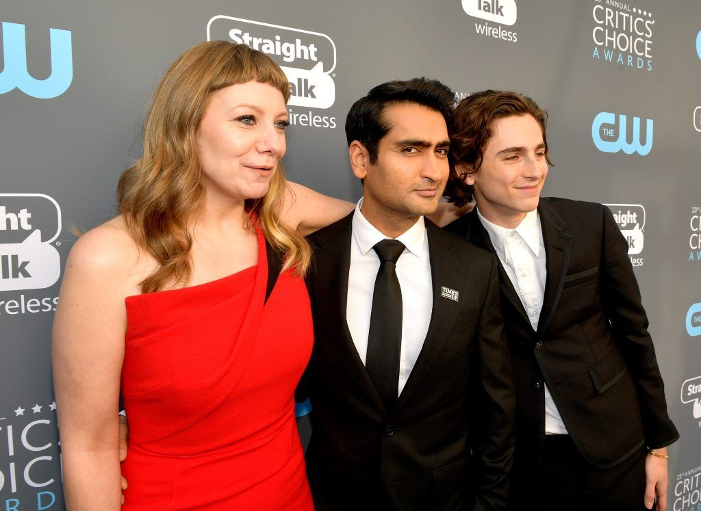 SANTA MONICA, CA - JANUARY 11:  (L-R) Writer Emily V. Gordon, actor/writer Kumail Nanjiani and actor Timothee Chalamet attend The 23rd Annual Critics' Choice Awards at Barker Hangar on January 11, 2018 in Santa Monica, California.  (Photo by Matt Winkelmeyer/Getty Images for The Critics' Choice Awards  )