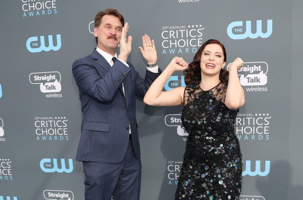 SANTA MONICA, CA - JANUARY 11:  Actors Pete Gardner (L) and Rachel Bloom attend The 23rd Annual Critics' Choice Awards at Barker Hangar on January 11, 2018 in Santa Monica, California.  (Photo by Christopher Polk/Getty Images for The Critics' Choice Awards  )