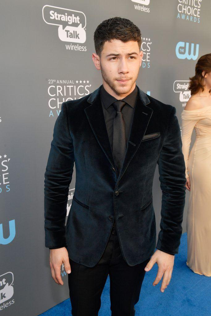 SANTA MONICA, CA - JANUARY 11:  Nick Jonas attends The 23rd Annual Critics' Choice Awards at Barker Hangar on January 11, 2018 in Santa Monica, California.  (Photo by Matt Winkelmeyer/Getty Images for The Critics' Choice Awards  )