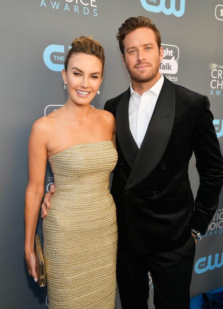 SANTA MONICA, CA - JANUARY 11:  Actors Elizabeth Chambers (L) and Armie Hammer attend The 23rd Annual Critics' Choice Awards at Barker Hangar on January 11, 2018 in Santa Monica, California.  (Photo by Matt Winkelmeyer/Getty Images for The Critics' Choice Awards  )