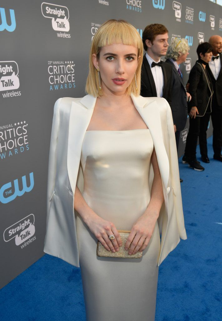 SANTA MONICA, CA - JANUARY 11:  Actor Emma Roberts attends The 23rd Annual Critics' Choice Awards at Barker Hangar on January 11, 2018 in Santa Monica, California.  (Photo by Matt Winkelmeyer/Getty Images for The Critics' Choice Awards  )