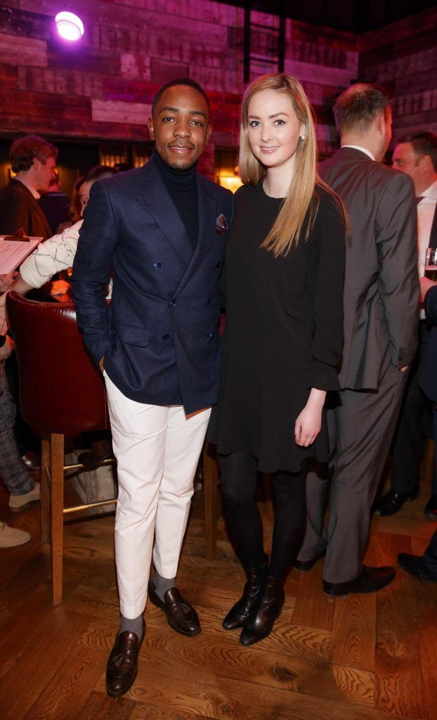 Lawson Mpame and Aoife McCormack at the relaunch of the lounge bar and Boss Crokers snug bar at Sandyford House in Sandyford Village, Dublin 18 (1st February 2018). Picture by Andres Poveda