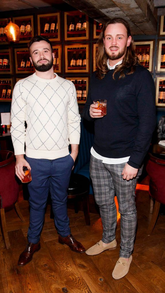 Jacob Long and Chris Mellon at the relaunch of the lounge bar and Boss Crokers snug bar at Sandyford House in Sandyford Village, Dublin 18 (1st February 2018). Picture by Andres Poveda