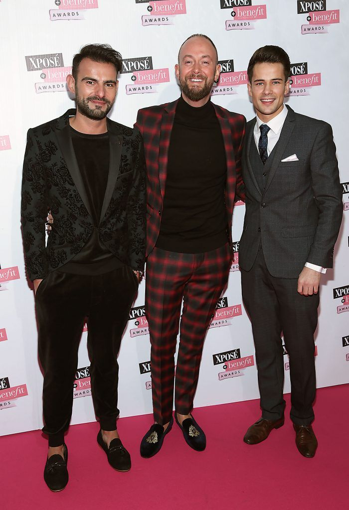 Rob Condon, Christian Shannon and Darren Regazzoli at the inaugural Xpose Benefit Awards that took place in The Mansion House, Dublin to celebrate the best in fashion and entertainment in Ireland. Picture: Brian McEvoy