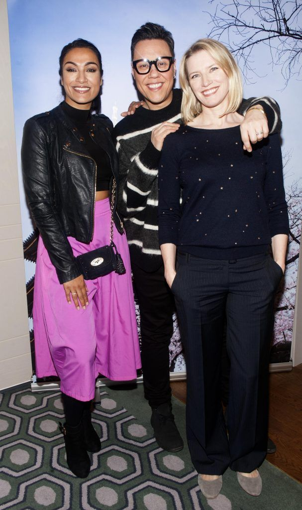 Gail Kaneswaran, Gok Wan and Pamela Flood pictured at Gok Wan and Danielle Mahon's launch of their Fashion and Beauty Collective roadshows in the Westbury Hotel, Dublin. Photo: Patrick O'Leary