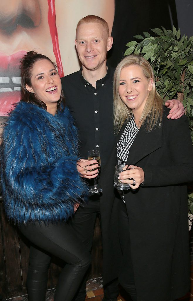 Sarah Regan, Conor McCrohan and Clodagh Watson pictured at the opening of new entertainment venue R.I.O.T in Aston Quay, Dublin. Photo by Brian McEvoy