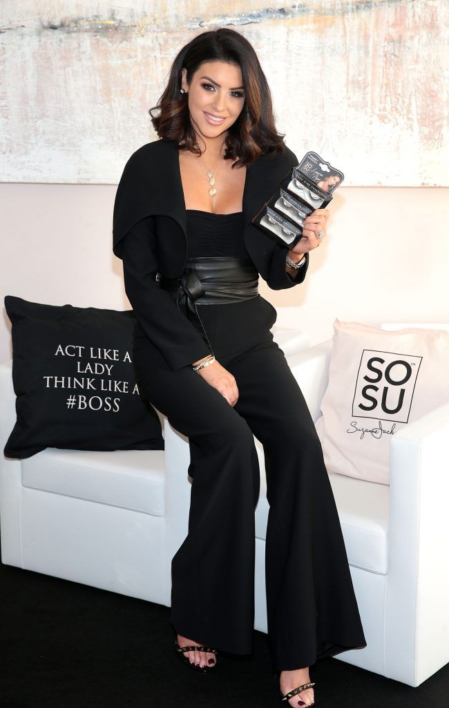 Suzanne Jackson at the launch of the SOSU By SJ Lauren Pope Faux Mink Lash Collection at the Cliff Townhouse, Dublin. Photo by Brian McEvoy