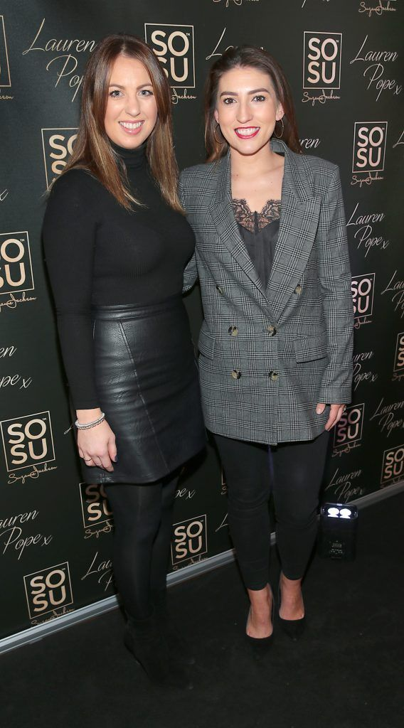 Aising Kettle and Rebecca Todd at the launch of the SOSU By SJ Lauren Pope Faux Mink Lash Collection at the Cliff Townhouse, Dublin. Photo by Brian McEvoy