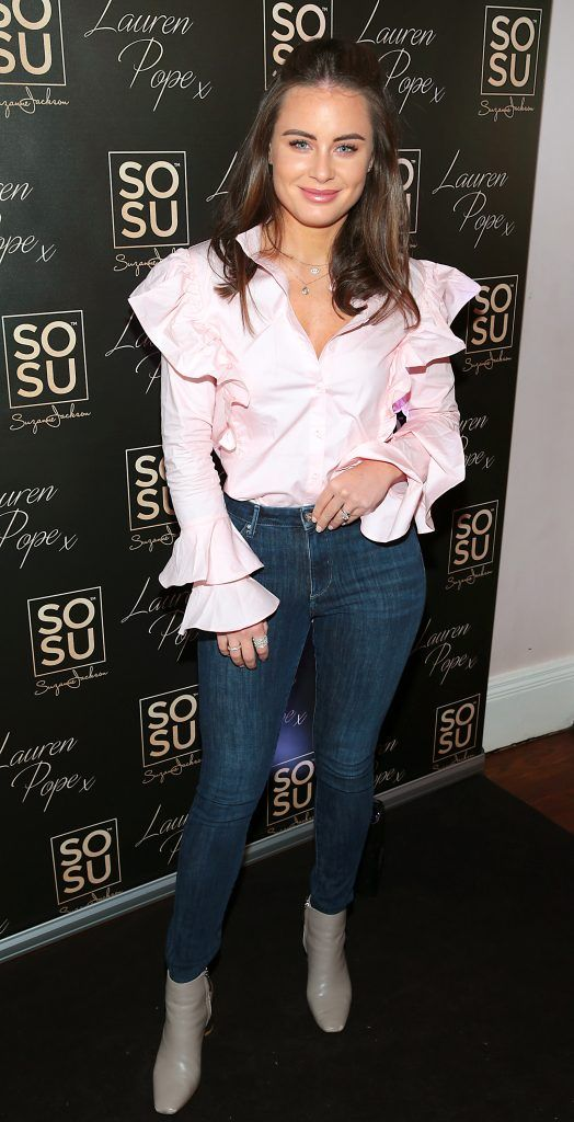 Jodie Wood at the launch of the SOSU By SJ Lauren Pope Faux Mink Lash Collection at the Cliff Townhouse, Dublin. Photo by Brian McEvoy