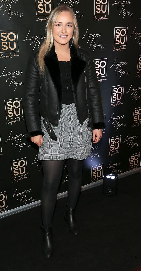Caitlin O Neill at the launch of the SOSU By SJ Lauren Pope Faux Mink Lash Collection at the Cliff Townhouse, Dublin. Photo by Brian McEvoy