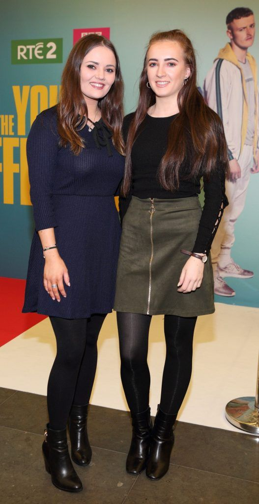 Katie O'Neill and Danielle Hallahan at the launch of the new Young Offenders television series at the ODEON Cinema in Point Square, Dublin. 'The Young Offenders' debuts on RTE2 on Thursday 8th February at 9.30pm. Photo by Morris Wall
