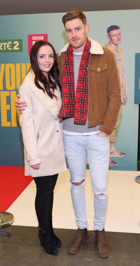 Mairead Laffin and Richard Mander at the launch of the new Young Offenders television series at the ODEON Cinema in Point Square, Dublin. 'The Young Offenders' debuts on RTE2 on Thursday 8th February at 9.30pm. Photo by Morris Wall