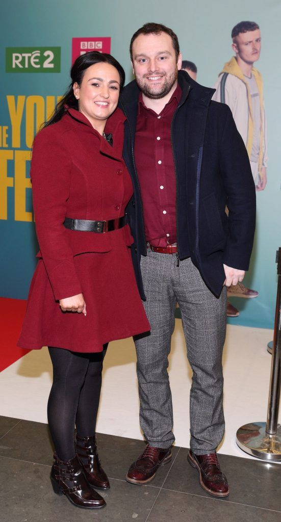 Annette Phelan and James Gibbons at the launch of the new Young Offenders television series at the ODEON Cinema in Point Square, Dublin. 'The Young Offenders' debuts on RTE2 on Thursday 8th February at 9.30pm. Photo by Morris Wall
