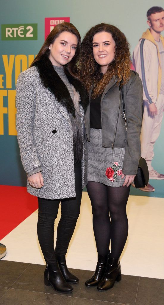 Niamh McCann and Kerri Murphy at the launch of the new Young Offenders television series at the ODEON Cinema in Point Square, Dublin. 'The Young Offenders' debuts on RTE2 on Thursday 8th February at 9.30pm. Photo by Morris Wall