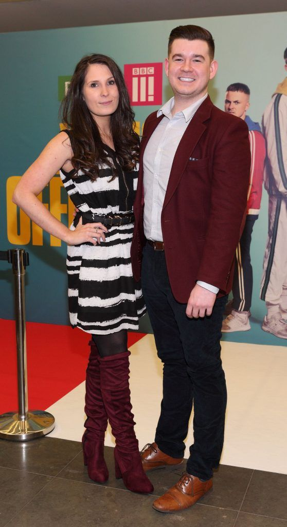 Dani Masterson and Robert Russell at the launch of the new Young Offenders television series at the ODEON Cinema in Point Square, Dublin. 'The Young Offenders' debuts on RTE2 on Thursday 8th February at 9.30pm. Photo by Morris Wall