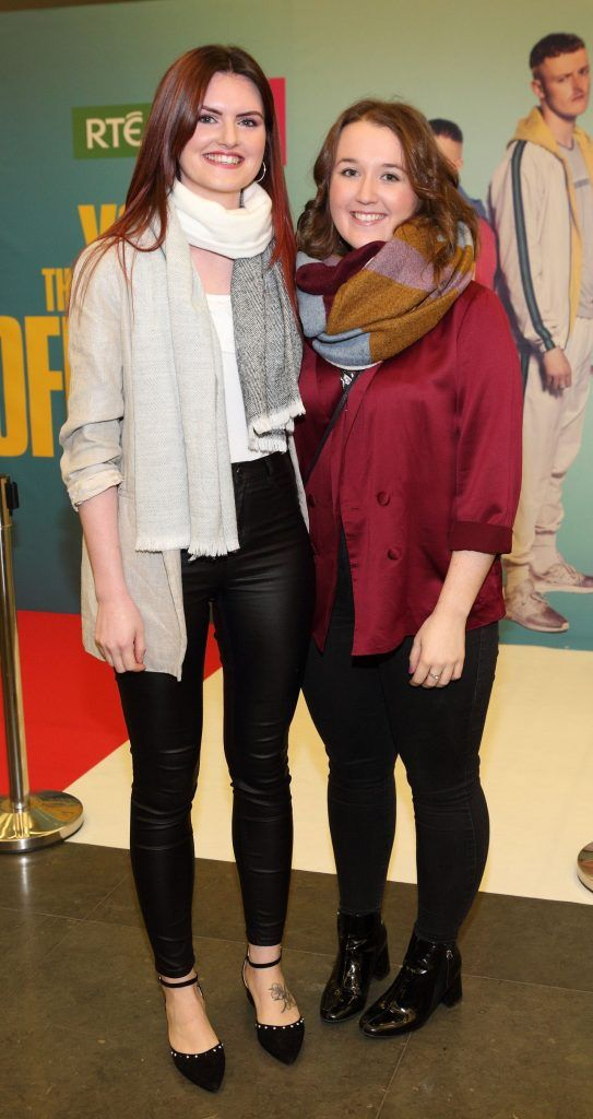 Anne Marie Kelly and Treasa O'Brien at the launch of the new Young Offenders television series at the ODEON Cinema in Point Square, Dublin. 'The Young Offenders' debuts on RTE2 on Thursday 8th February at 9.30pm. Photo by Morris Wall