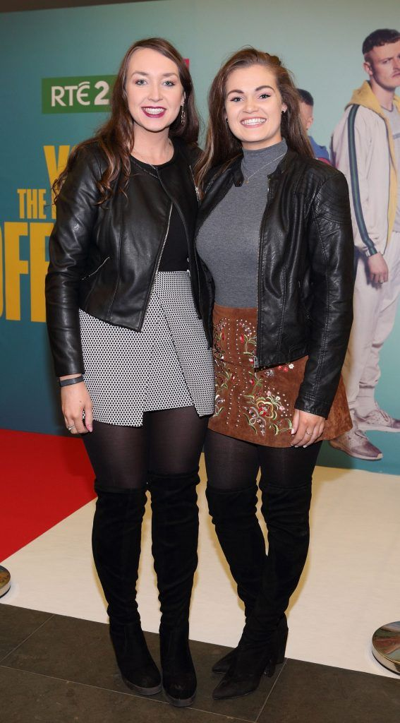Michelle Hayes and Courtney Garvey at the launch of the new Young Offenders television series at the ODEON Cinema in Point Square, Dublin. 'The Young Offenders' debuts on RTE2 on Thursday 8th February at 9.30pm. Photo by Morris Wall