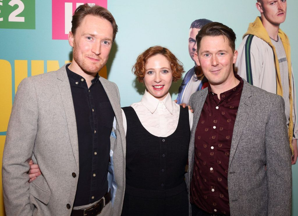Dominic MacHale, Orla Fitzgerald and Shane Casey at the launch of the new Young Offenders television series at the ODEON Cinema in Point Square, Dublin. 'The Young Offenders' debuts on RTE2 on Thursday 8th February at 9.30pm. Photo by Morris Wall