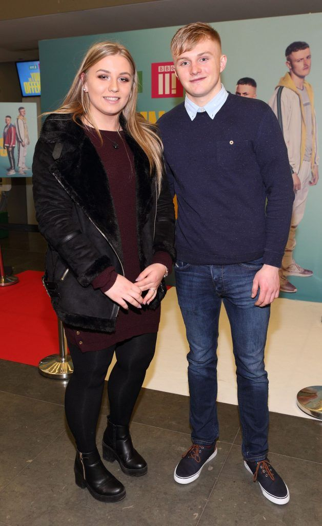 Annastasia Breen and John Marshall at the launch of the new Young Offenders television series at the ODEON Cinema in Point Square, Dublin. 'The Young Offenders' debuts on RTE2 on Thursday 8th February at 9.30pm. Photo by Morris Wall