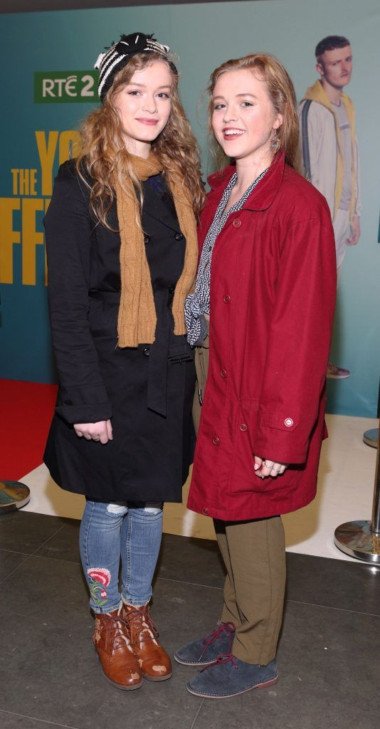 Cait Bird and Maura Bird Walley at the launch of the new Young Offenders television series at the ODEON Cinema in Point Square, Dublin. 'The Young Offenders' debuts on RTE2 on Thursday 8th February at 9.30pm. Photo by Morris Wall