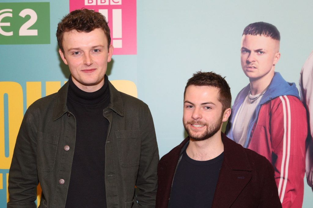 Chris Walley and Alex Murphy at the launch of the new Young Offenders television series at the ODEON Cinema in Point Square, Dublin. 'The Young Offenders' debuts on RTE2 on Thursday 8th February at 9.30pm. Photo by Morris Wall