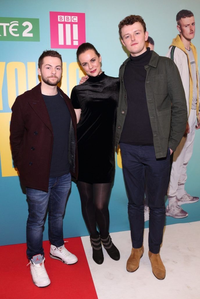 Alex Murphy, Hilary Rose and Chris Walley   at the launch of the new Young Offenders television series at the ODEON Cinema in Point Square, Dublin. 'The Young Offenders' debuts on RTE2 on Thursday 8th February at 9.30pm. Photo by Morris Wall