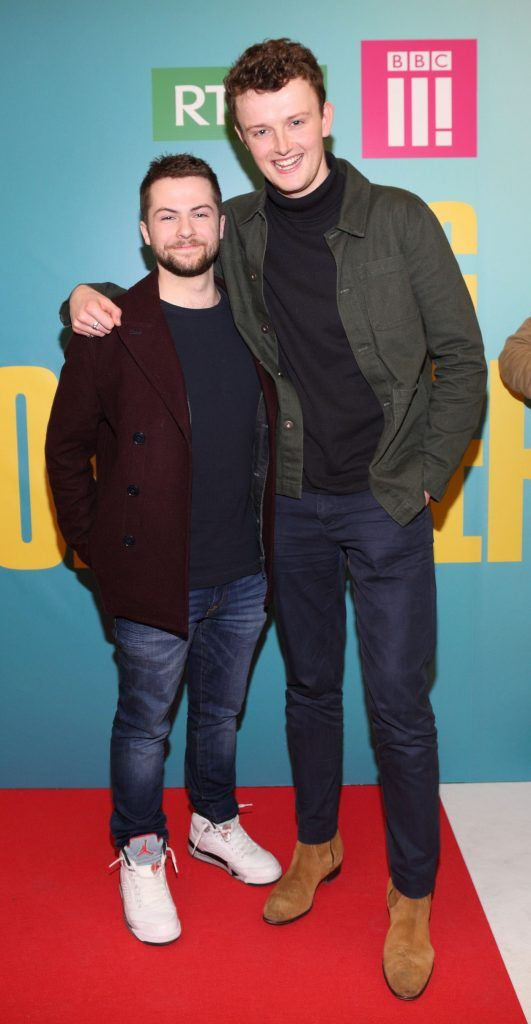 Alex Murphy and Chris Walley at the launch of the new Young Offenders television series at the ODEON Cinema in Point Square, Dublin. 'The Young Offenders' debuts on RTE2 on Thursday 8th February at 9.30pm. Photo by Morris Wall