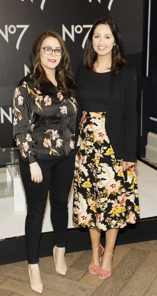 Jennifer Rock and Siobhán McCaul at the launch of No7 Laboratories and No7 Laboratories Line Correcting Booster Serum at 25 Fitzwilliam Place. Photo Kieran Harnett
