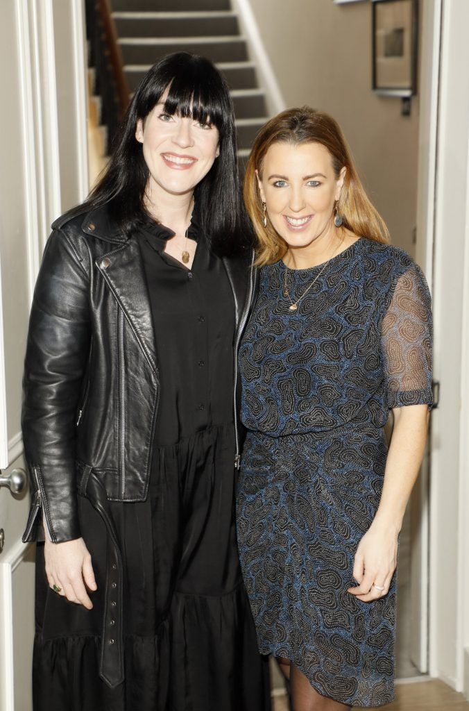 Ellie Balfe and Clodagh Edwards at the launch of No7 Laboratories and No7 Laboratories Line Correcting Booster Serum at 25 Fitzwilliam Place. Photo Kieran Harnett