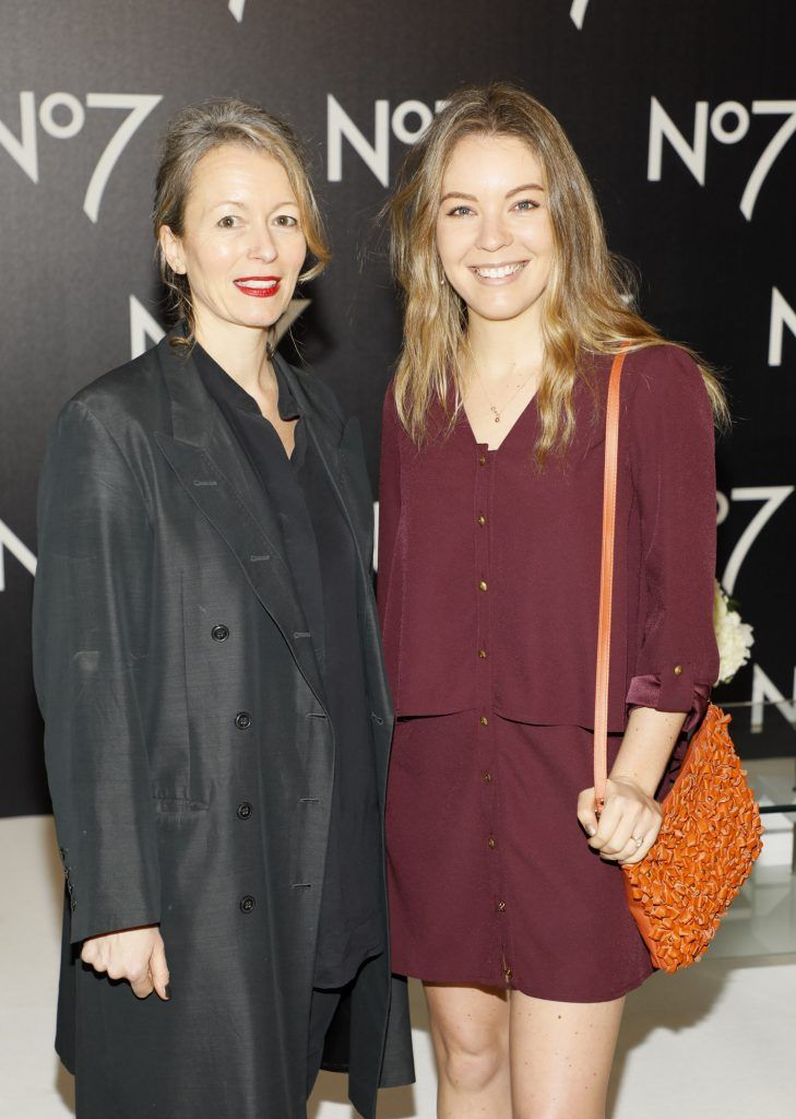 Sarah Halliwell and Emma Manley at the launch of No7 Laboratories and No7 Laboratories Line Correcting Booster Serum at 25 Fitzwilliam Place. Photo Kieran Harnett